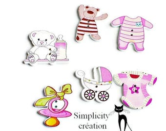 6 wood themed pink baby buttons