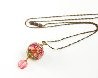 Romantic necklace pink red green ball