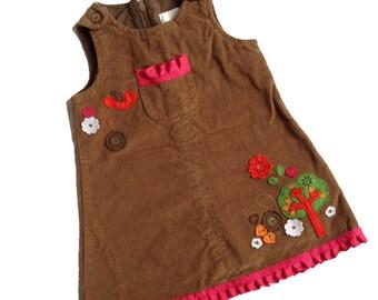 Corduroy Forest Jumper Dress Vintage