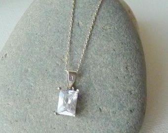 Sterling Silver Cubic Zircon Pendant Chain Necklace Cz Vintage  Cubic Zirconia 925 Necklace, Small  CZ Silver Minimalist Silver Jewelry CZ