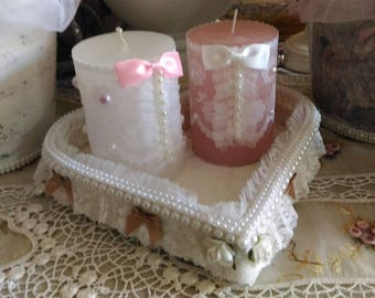 Top heart and shabby chic pink and white candles