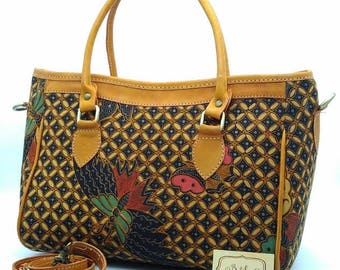 Handmade Batik Leather Bag