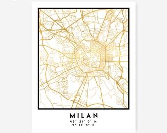 Milan Map Coordinates Print - Italy City Street Map Art Poster, Gold Milan Map Print, Milan Italy Coordinates Italian Gold Poster Map Art