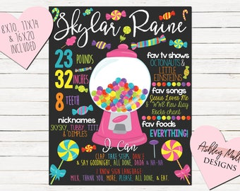 Candy First Birthday Chalkboard - Colorful - Sweets 1st Birthday Chalkboard - Pinata - Candy Party Sign - Custom Bday Sign  Party- Printable