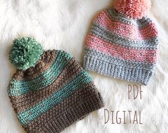 The Riverstone Beanie PDF DIGITAL DOWNLOAD Crochet Pattern, Crochet beanie pattern, fair isle crochet pattern, slouchy crochet hat knit look