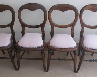 4  balloon backed dining chairs newly upholstered in pink boucle with studded detailing ,vintage, victorian,