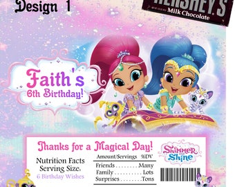 Printable Shimmer and Shine Candy Bar Wrappers Fits 1.55 Oz Hershey Chocolate Bar Party Favors