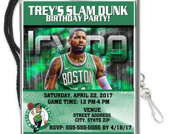 12 PER PACK Birthday Party VIP Lanyard Invitations Boston Celtics Birthday Basketball Baby Showers Bar Mitzvahs Kyrie Irving