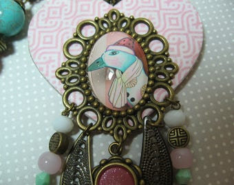 long necklace, necklace, heart, duck, pink and turquoise, fun