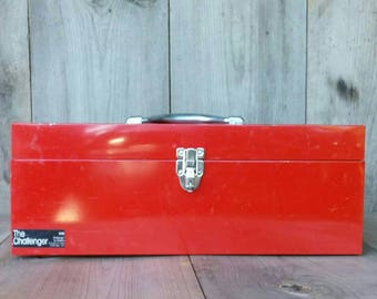 Vintage Red Metal Toolbox The Challenger by Disston Made in The USA Danville VA plastic tray
