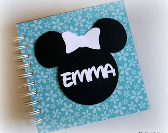 2018 80 pgs  teal flower PERSONALIZED  Disney Autograph Book Scrapbook Use it as a Travel Journal Vacation Photo Book 1827