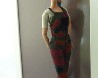 Free shipping! Barbie clothes - Jumpsuit with Top, NO VELCRO, stretch.