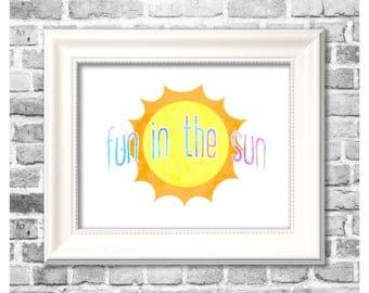 Summer Season Print / Fun in the Sun / Summer Watercolor / Summertime Decor / Printable Home Decor