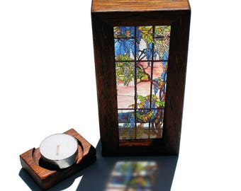 Tiffany Wisteria Window - Louis Comfort Tiffany Lightbox with tealight candle holder