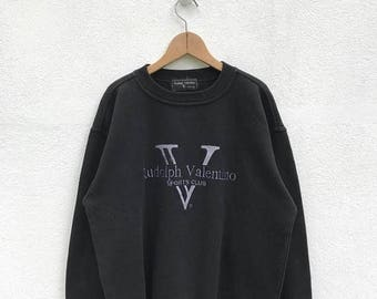 20% OFF Vintage Rudolph Valentino Big Logo Sweatshirt / Rudolph Valentino Sweater / Hip Hop / Casual Clothing