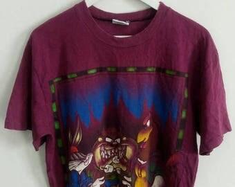 20% OFF Vintage 90s 1994 Tazmania Bugs Bunny Barbeque T Shirt Tazmania Devil