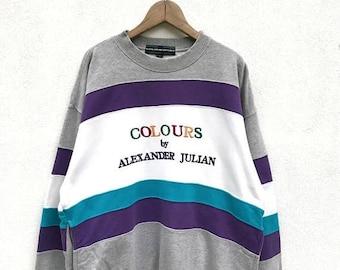 20% OFF Vintage Colours bu Alexander Julian Sweatshirt / Color Block Sweatshirt / Designer Clothing