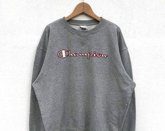 20% OFF Vintage Champion Embroidery Big Logo Sweatshirt 90s Champion pullover Champion C Logo Champion Spell Out Sweatshirt Champion Big Log