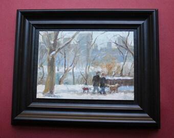 Central Park Winter, Original Oil Painting