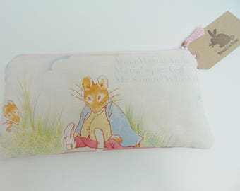 Handmade Samuel Whiskers Makeup Bag, Vintage Beatrix Potter Fabric, Peter Rabbit Theme Pouch or Pencil Case