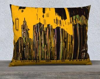 Barcode City Montreal Art Print pillow cover - Pillow Case yellow paint Mélanie Bernard