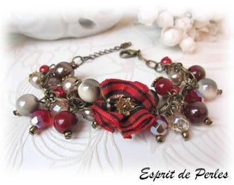 Red tartan watercolor 'Subtle fabrics' Chic bracelet