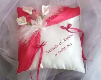 Wedding ring pillow, wedding pillow, blanc(ou ivoire) and pink