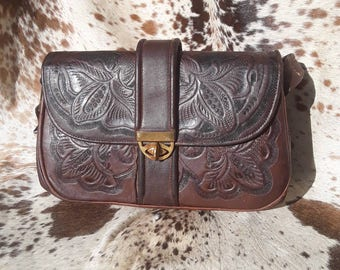 Vintage Tooled Leather Flores Purse