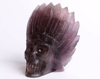 Natural Purple Gray Fluorite Carved Indians Skull,Crystal Healing ,Pretty Beautiful crystal head J742