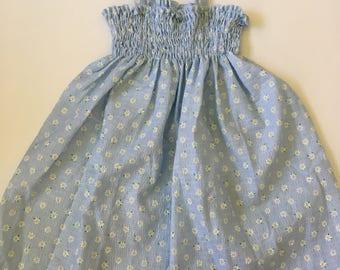 Vintage Handmade Floral Daisy Sun Dress Girls Sz 2T 3T 4T