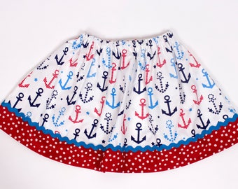 Girl skirt, Nautical skirt  Girl Skirt,  Girl birthday skirt , girl skirt, baby Skirt , Toddle  skirt, Skirts girl clothes girl outfit