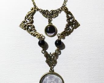 Lunar phases necklace full moon bronze base waning moon cammeo