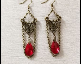 Gothic victorian earring bronze with red blood stone, steampunk, victorian jewelry, handmade gift
