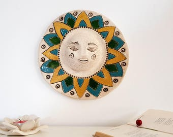 Wall art Decor | Ceramic sun sculpture | Hanging room decor | Rustic Home decor | Goddess wall sculpture | Hostess gift | Wall Decoration