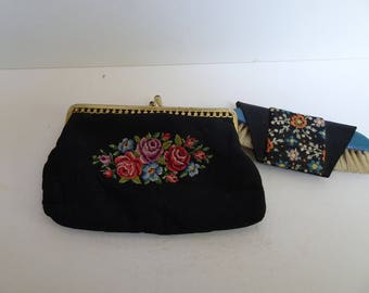 Vintage embroidered petit point purse with brush.  Needlework. 1950s