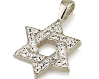 Star of David Pendant with White Gemstones + Sterling Silver Necklace #7