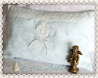 Pale Aqua damask cotton pillow
