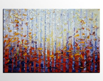 Birch Tree Landscape Painting, Abstract Painting, Original Painting, Large Wall Art, Canvas Painting, Abstract Art, Canvas Art, Oil Painting