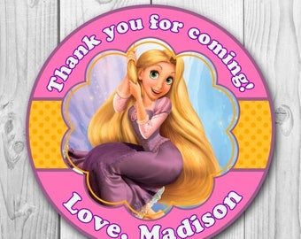 Rapunzel Gift Tags - Rapunzel Thank You Stickers - Rapunzel Printable - Tangled Thank You tag