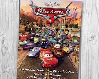 Disney Cars Invitation - Cars Birthday Party Invitation - Disney Cars Printable - Cars Invitations - Lightning McQueen Invite