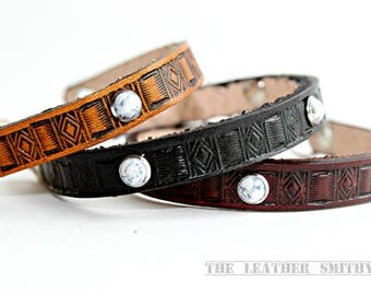 "Southwestern Hand Stamped White Rivet Thin Leather Bracelet -1/4"" wide Tan, Dark Brown, Black Bracelets"