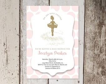 Printable Ballet Baby Shower Invitation Template, Girl Ballerina Tutu Cute Theme, Pink & Gold Glitter, Instant Download Digital File PDF