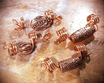 Set of 4 Copper Egyptian Style Loc Coils, Loc Jewelry, Hair jewelry, Dreadlock jewelry, Boho, Afrocentric, Afropunk