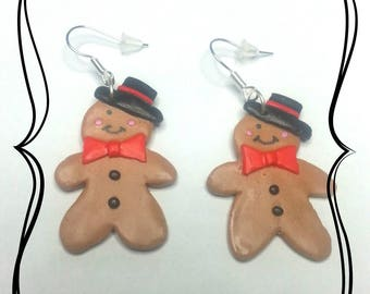 Polymer clay Christmas gingerbread man cookie earring
