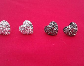 Sparkly Heart Party Stud Earrings, Black Glittery Studs, Silver Glitter Earrings, Fancy Studs, Event Jewellery, Fashion Jewelry, Gift Set