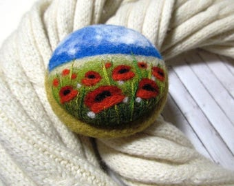 Unique gift idea Felt flower  Needle felted poppy brooch Rustic brooch for mom Romantic gifts Woolen art For teacher Best sisters gift