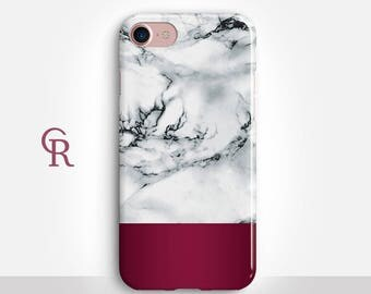 Burgundy Marble Phone Case For iPhone 8 iPhone 8 Plus - iPhone X - iPhone 7 Plus - iPhone 6 - iPhone 6S - iPhone SE - Samsung S8 - iPhone 5