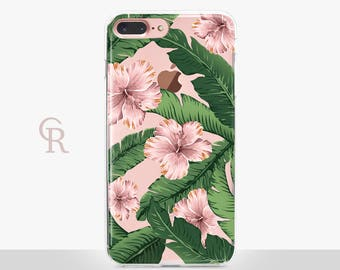 Floral iPhone 6 Case - Clear Case - For iPhone 8 - iPhone X - iPhone 7 Plus - iPhone 6 - iPhone 6S - iPhone SE Transparent - Samsung S8 Plus