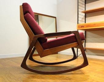 Dark teak, British 1960's rocking chair.
