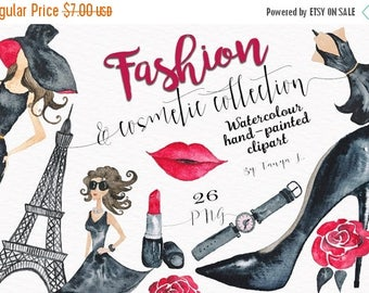 SALE Fashion Clipart, Cosmetic Watercolor  Clipart, Fashion Girl Clipart, Commercial Use, Hand-painted Clipart, Black Pink Clipart,